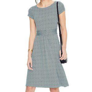 Boden Amelie Jersey Dress 10 Heron Blue Geo Print